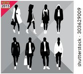 set of men and women black... | Shutterstock .eps vector #303629009