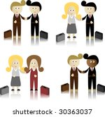 business men and women shaking... | Shutterstock .eps vector #30363037