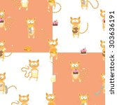 seamless pattern with cute... | Shutterstock .eps vector #303636191