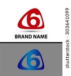 vector sign number 6 logo  | Shutterstock .eps vector #303641099