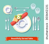 beautifully served table.... | Shutterstock .eps vector #303642131