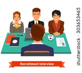 man having a job interview with ... | Shutterstock .eps vector #303653465