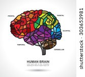 mosaic human brain art with... | Shutterstock .eps vector #303653981