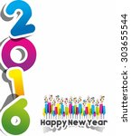 happy new year 2016 celebration ... | Shutterstock .eps vector #303655544