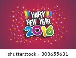 happy new year 2016 celebration ... | Shutterstock .eps vector #303655631