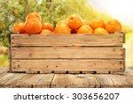 retro wooden box on retro table ... | Shutterstock . vector #303656207
