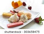 ice cream platter  | Shutterstock . vector #303658475