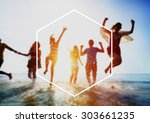hexagon frame holiday summer... | Shutterstock . vector #303661235