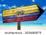 ecuador flag on wooden table... | Shutterstock . vector #303680879