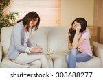 therapist listening to her... | Shutterstock . vector #303688277