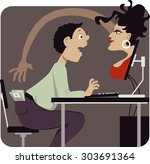 voluptuous woman attempting to... | Shutterstock .eps vector #303691364