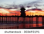 Beach Pier At Sunset In...