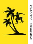 summer scene with palm tree on... | Shutterstock .eps vector #303701915