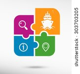 Ship Icon On Colorful Jigsaw...