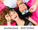close up summer portrait of ... | Shutterstock . vector #303715964
