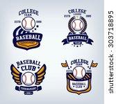 baseball club emblem  college... | Shutterstock .eps vector #303718895