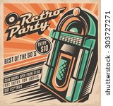 retro party invitation design... | Shutterstock .eps vector #303727271