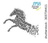 wild horse lettering poster... | Shutterstock .eps vector #303734411