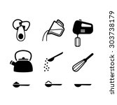 kitchen items icon set