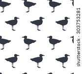 Seamless Pattern With Seagull...