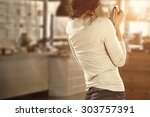 cafe bar interior and young...   Shutterstock . vector #303757391