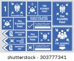 set of emergency exit sign ... | Shutterstock .eps vector #303777341