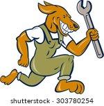 illustration of a dog mechanic... | Shutterstock .eps vector #303780254