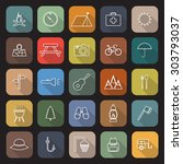camping line flat icons with... | Shutterstock .eps vector #303793037