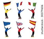 man holding a national flag ... | Shutterstock .eps vector #30379606