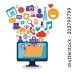 social media design  vector... | Shutterstock .eps vector #303799799
