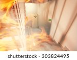 emergency exit and fire in the... | Shutterstock . vector #303824495