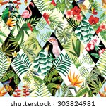 Stock vector exotic beach trendy seamless pattern patchwork illustrated floral vector tropical banana leaves 303824981