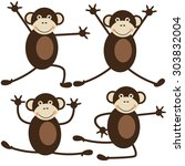 set of cute monkeys doing yoga... | Shutterstock .eps vector #303832004