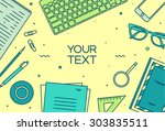set of linear vector design... | Shutterstock .eps vector #303835511