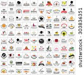 restaurant flat icons set ... | Shutterstock .eps vector #303836351