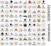 restaurant flat icons set ... | Shutterstock .eps vector #303836351