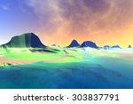 rendered fantasy alien planet.... | Shutterstock . vector #303837791