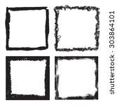 grunge frame texture set  ... | Shutterstock .eps vector #303864101