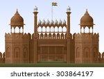 illustration of red fort in new ... | Shutterstock .eps vector #303864197