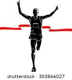 marathon winner male silhouette | Shutterstock .eps vector #303866027