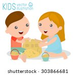 illustration of kids building a ... | Shutterstock .eps vector #303866681