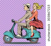 a man and a woman are riding a... | Shutterstock .eps vector #303867215
