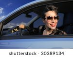 beautiful girl driving a car | Shutterstock . vector #30389134