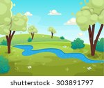 cartoon style river forest tree ... | Shutterstock .eps vector #303891797