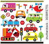 vehicles with driver clip art... | Shutterstock .eps vector #303892751