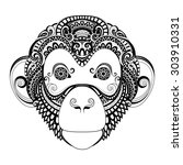 Vector Ornate Monkey Head....