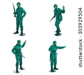 four man on a green toy soldier ... | Shutterstock . vector #303929504