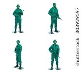 four man on a green toy soldier ... | Shutterstock . vector #303929597
