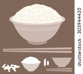rice vector in bowl with...   Shutterstock .eps vector #303944435