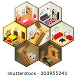 isometric living rooms icon.